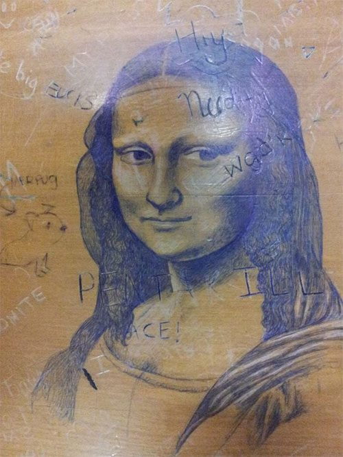 desk art mona lisa